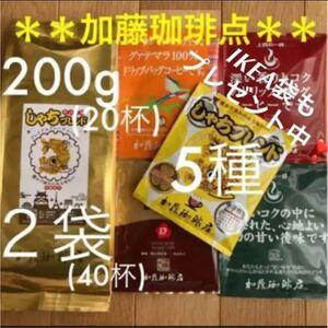 匿名箱入り*加藤珈琲店* しゃちブレンド200g×2袋&ドリップバッグ10袋
