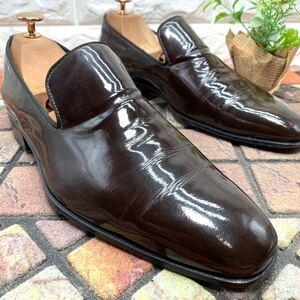 FERRANTE フェランテ エナメルローファー パテントレザー ドレスシューズ 靴 ブラウン 茶 6 1/2 25.0cm メンズ 即決