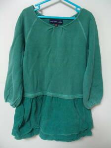 全国送料¥198 スワップミートマーケットSWAP MEET MARKETフィスFITH製 子供キッズ女の子緑色長袖スウェット&コーデュロイワンピース110