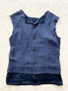 tricot COMME des GARCONS sizeM ドット柄シルクノースリーブシャツ 水玉 ネイビー ブルー トリコ コムデギャルソン
