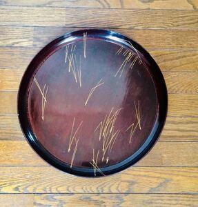 お盆 塗り盆 約36cm 骨董 レトロ 昭和 アンティーク木製 丸盆
