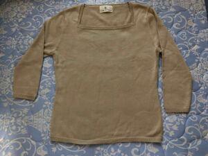 KUMIKYOKU組曲、七分袖セーター、薄手ニット、オンワード樫山ONWARD、糸引っ掛けあり、クリーニング済み