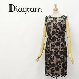◆Diagram/ダイアグラム グレースコンチネンタル スパンコール 花柄 刺繍 ノースリーブ ワンピース 36
