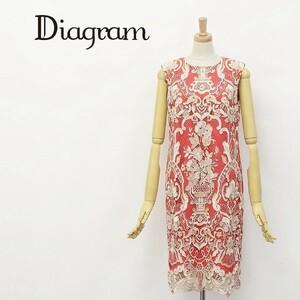 ◆Diagram GRACE CONTINENTAL/ダイアグラム グレースコンチネンタル 刺繍 レース 配色 ケミカル ワンピース 36