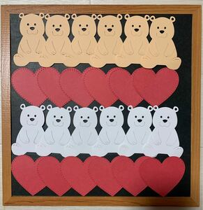 壁面飾り 幼稚園 保育園 No.62 アルバム素材 くまさん&ハート型メッセージカード 12セット