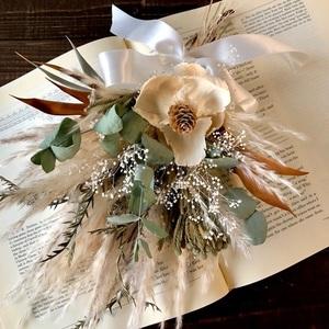 星月猫★「ココフラワーとパンパスグラスの小さなホワイトスワッグ」ドライフラワー ブーケ 花束