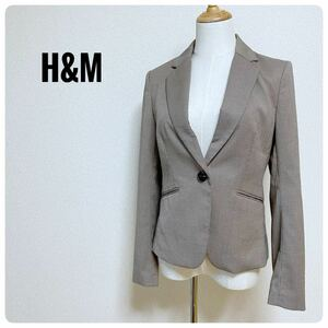 H&M(エイチアンドエム) テーラードジャケット チェック 茶系