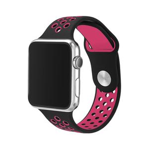 Apple watch バンド series4&5/40mm・series2&3/38mm用【ブラック×ピンク】シリーズ 5 4 3 2 アップルウォッチ ベルト スポーツバンド