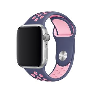 Apple watch バンド series4&5/40mm・series2&3/38mm用【ネイビー×ライトピンク】シリーズ 5 4 3 2 アップルウォッチ ベルト スポーツ