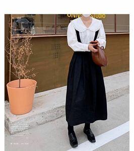 着痩せハイウエスト無地サロペットスカート 春夏秋冬 通勤通学 ロングスカート タグ付き