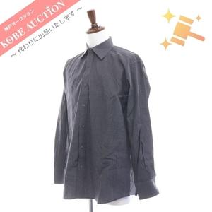 ■ GUCCI グッチ カッターシャツ トップス ドレスシャツ ワイシャツ 紳士服 ストライプ柄 メンズ 41 グレー系 コットン100 中古