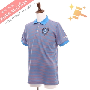 ■ マスターバニーエディション パーリーゲイツ 半袖 ポロシャツ トップス ボーダー ゴルフウェア スポーツウェアメンズ 5 ブルー 綺麗