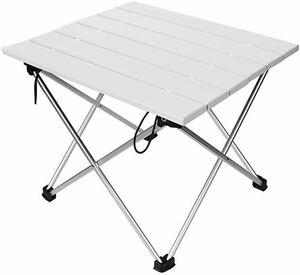 ロールテーブル キャンプ用品 Linkax アルミ製 アウトドアテーブル 耐荷重30kg 専用収納袋付き (折畳テーブル)ホワイト