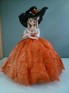 ポーズ人形 オレンジドレス F911 昭和レトロ フランス人形 インテリア コレクション ビンテージドール アンティーク