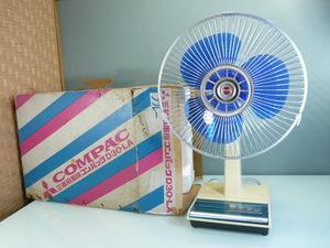 ジャンク品 三菱扇風機 D30-LA 「 コンパック 」 箱付 青羽 3枚羽幅30cm 昭和レトロ家電