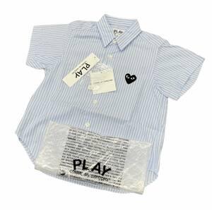 定価15180円 新品 ■ PLAY COMME des GARCONS 21SS ハート ワッペン ストライプシャツ 半袖 キッズ コムデギャルソン AZ-B521-100-1-2 ■ 2