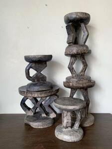 アフリカ 木彫り スツール ハンドメイド ヴィンテージ アンティーク 民芸 民藝 木の椅子 オブジェ イス