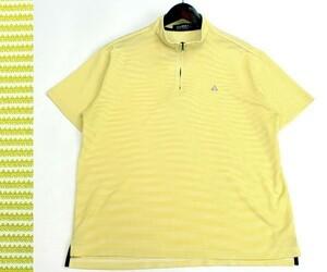 ルコック ゴルフ le coq sportif GOLF ハーフジップ ボーダー半袖ゴルフシャツ ポロシャツ カジュアルにも サイズL 0808k