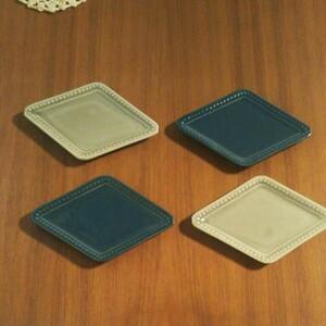 新品 2色 菱形豆小皿 ミニプレート フレームドット4枚セットです。