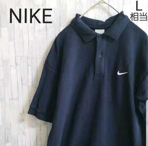 NIKE ナイキ 半袖 ポロシャツ サイズM シンプルロゴ ワンポイントロゴ 刺繍 スウォッシュ ネイビー 鹿の子 メンズ