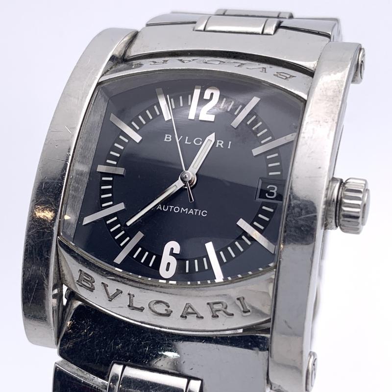 ◎1円~ ブルガリ Bvlgari アショーマ デイト AA44S メンズ 自動巻き グレー文字盤 腕時計 CD1891474