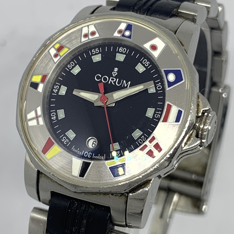 ●最終出品 1円~ コルム Corum アドミラルズカップ デイト 黒文字盤 レディース クオーツ コンビ 腕時計 CD1899467