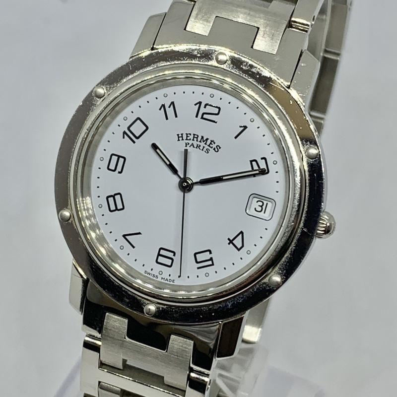 ●最終出品 1円~ エルメス Hermes クリッパー 白文字盤 CL6.710 メンズ クオーツ デイト 腕時計 CD1795949