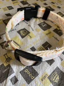 ハンドメイド 犬猫用品 犬猫用首輪 首輪 イチゴ さくらんぼ柄 チャーム付き 鈴付け可能