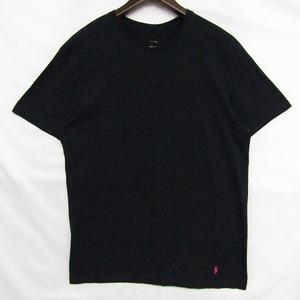 ポロ ラルフローレン ビッグ サイズ XL Tシャツ 半袖 ワンポイント 裾 ロゴ コットン ブラック POLO RALPH LAUREN 古着 1AU0808