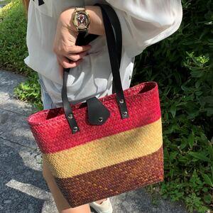 ショルダーバッグ ハンドメイド カゴバッグ かごバッグ トートバッグ 手編み 編みバッグ カラフルバッグ