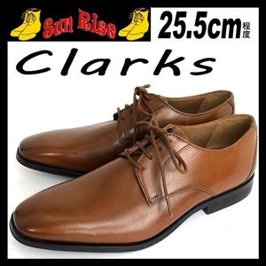 即決 Clarks クラークス メンズ UK7.5G 25.5cm程度 本革 本皮 レザー プレーントゥ 茶色 ブラウン カジュアル ドレス シューズ 革靴 中古