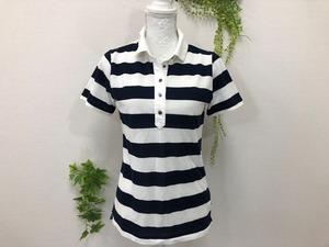 S-8847 ☆AIGLE☆ レディース 半袖ポロシャツ サイズ:40 色:白色 ネイビー ボーダー