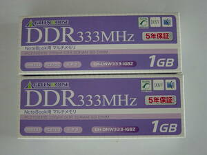 GreenHouse Note memory 1GB GH-DNW333-1GBZ 2 sheets unused goods