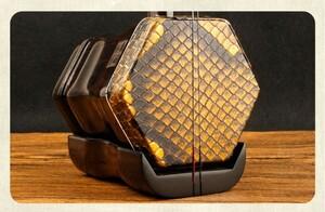 職人手作り製作 良い音質 二胡 初心者 黒檀木 天然ニシキヘビ皮 弓ケース付き XEH62