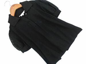 M-PREMIER エムプルミエ 袖レース ポロシャツ size36/黒 ■◆ ☆ bha4