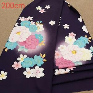 正絹 81905 紺紫色 花柄 紗綾型 桜柄 シルク200cm はぎれ ハギレ リメイク ハンドメイド