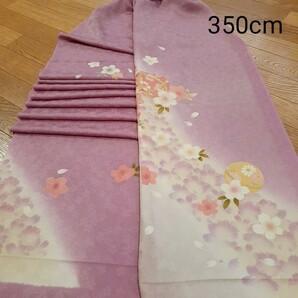 正絹 81502 薄紫ピンク色 花柄 桜柄 シルク350cm はぎれ ハギレ リメイク ハンドメイド