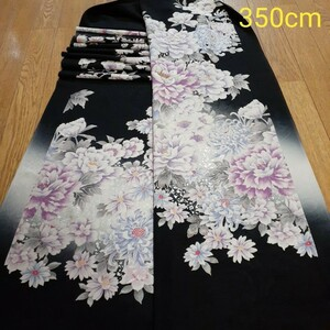 正絹 81602 黒色 グレー 花柄 菊 シルク350cm はぎれ ハギレ リメイク ハンドメイド