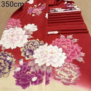 正絹 82401 赤色 花柄 シルク350cm はぎれ ハギレ リメイク ハンドメイド