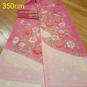 正絹 82804 ピンク色 撫子 藤 疋田 花柄 シルク350cm はぎれ ハギレ リメイク ハンドメイド