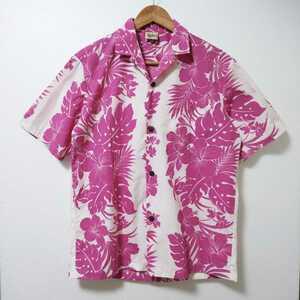 【アロハ】Royal Creations ロイヤルクリエーションズ 半袖 アロハシャツ Mサイズ ピンク×ホワイト ハイビスカス Made in Hawaii