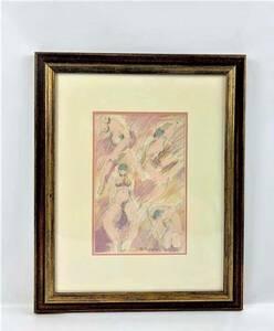 木版画 ED サインあり 春画 鉛筆画 抽象画 美人画 裸婦 人物画 額装 サイズ:42×34cm A315