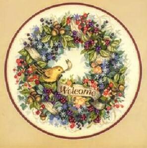 クロスステッチキット 黄色い鳥のリース ウェルカムリース 刺繍 18CT