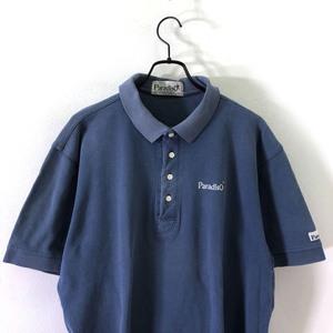 ゴルフ◆PARADISO パラディーゾ ロゴ刺繍 鹿の子 コットン 半袖 ポロシャツ LL /メンズ/スポーツ/日本製/ネイビーブルー系