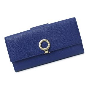 (未使用 展示品)ブルガリ・ブルガリ ロゴクリップ グレインレザー Wホック長財布 36316 ブルー×ピンク 青 箱付