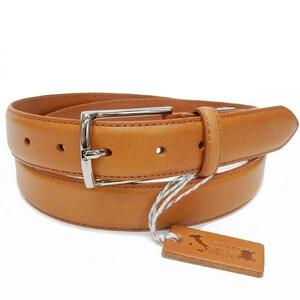 イタリアンレザー メンズ本革ベルト TAN 牛革 ビジネスベルト 3cm巾 KHB-01TN