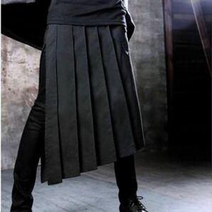 アシンメトリー プリーツ メンズスカート フラップ スカート モード 腰巻き 黒 ブラック プリーツスカート 衣装 巻きスカート