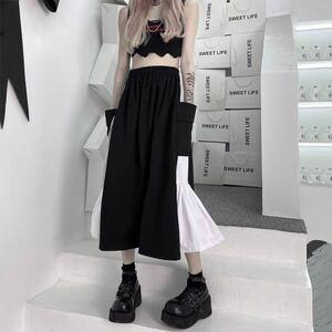 スカート フレアスカート ロングスカート 膝丈スカート 黒 ブラック 白 ホワイト ハイウエスト コスプレ メイド やみかわいい