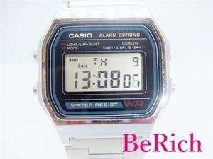 カシオ CASIO デジタル メンズ 腕時計 A158W 黒 ブラック 青 ブルー 文字盤 シルバー SS デイデイト クォーツ ウォッチ 【中古】ht3126