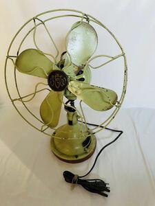 【アンティーク】昭和初期 芝浦 扇風機 戦前 昭和レトロ 真鍮4枚刃 現 東芝【動作良好】エメラルドグリーン 貴重